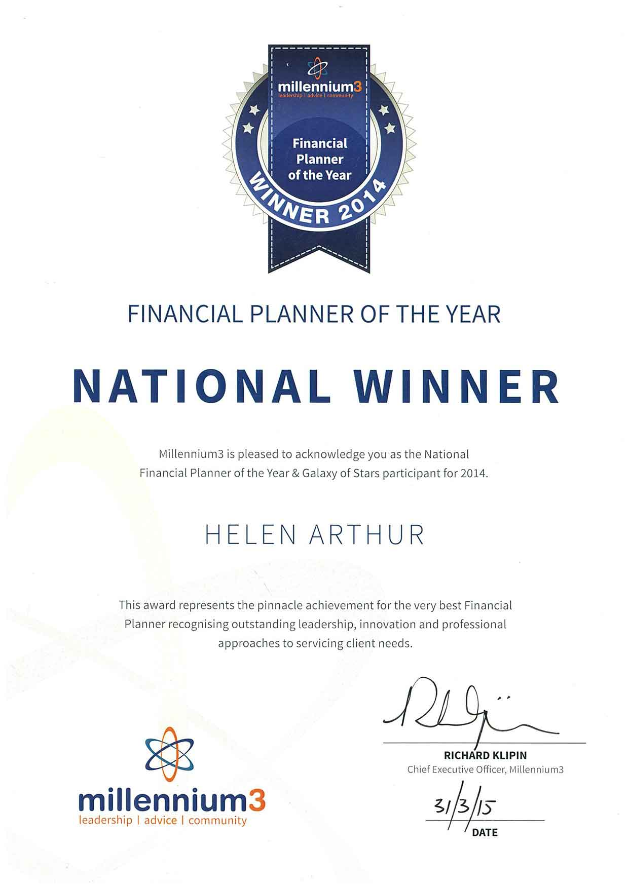 Financial Planner of the year & galaxy star participant of 2014