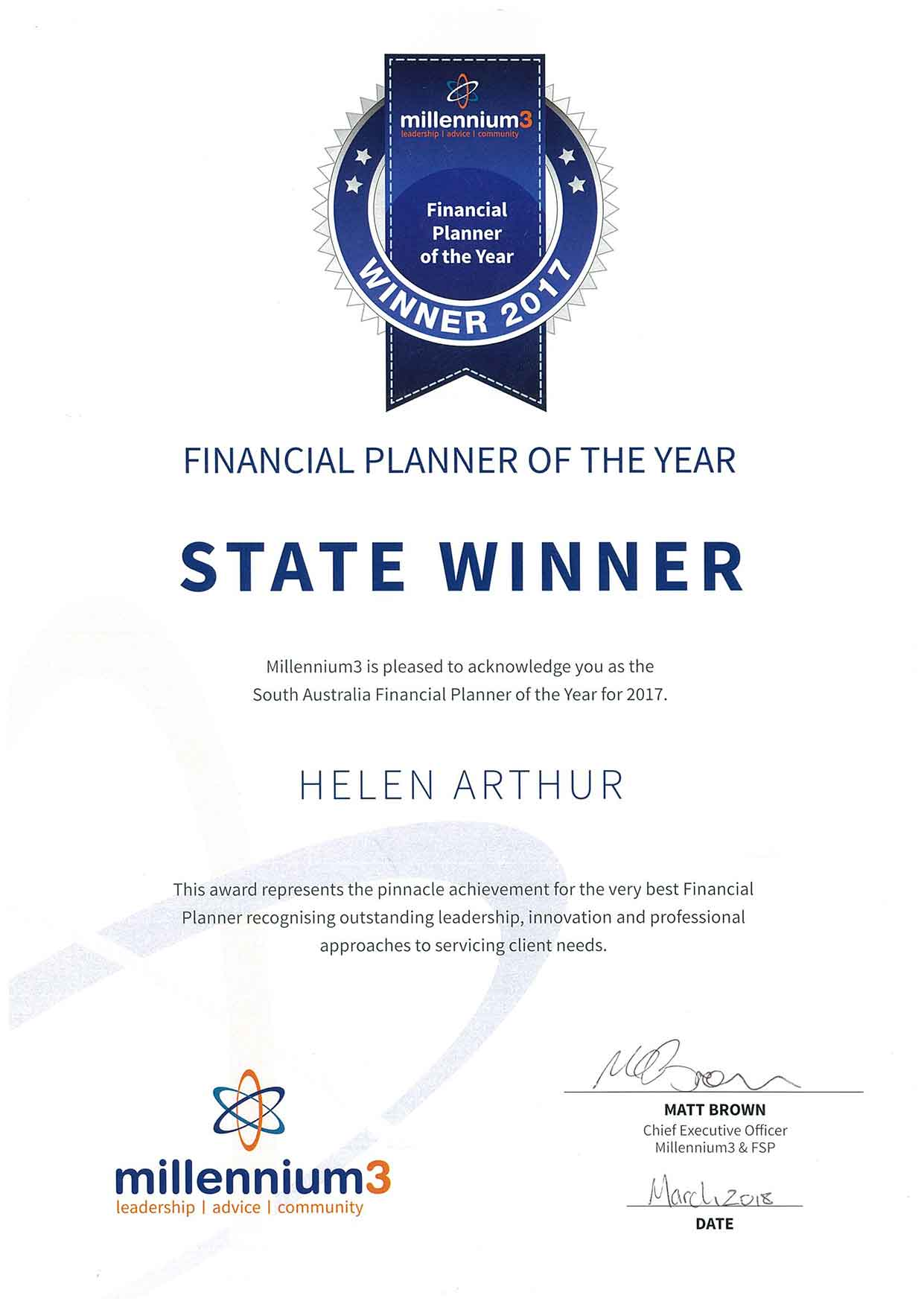 South Australian Financial Planner of the year 2017